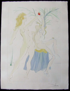 Salvador Dali - Our Historical Heritage - Adam and Eve drypoint etching