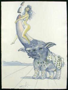 Salvador Dali - Dali Illustre Casanova - Girl on Rhinoceros Horn