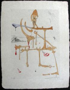 """Salvador Dali - Visions de Quevedo, """"Dalinian Fantasia"""" - Figure rouge avec portrait de Quevedo"""