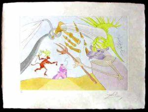 Salvador Dali - Le Bestiaire de La Fontaine - L'Elephant et le Singe de Jupiter