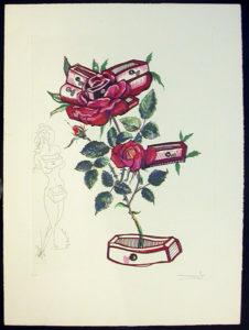 Salvador Dali - Surrealsitic Flowers, Florals - Water-hybiscus + swan, C