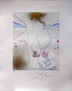 Salvador Dali - Hippies - Woman with the Garter, Le Nu a la jarretiere