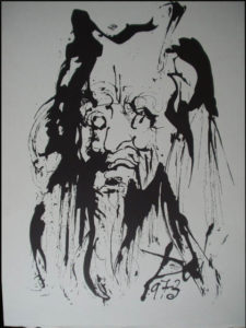 Salvador Dali - Moise et Monotheisme - Interior Illustration drawn by Dali on olive wood