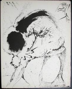 Salvador Dali - Don Quichotte de la Mancha, Book A - 1957 - Don Quichotte Accable Don Quichotte Overwhelmed - #1