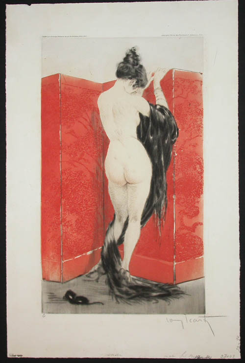Louis Icart Lacquered Screen