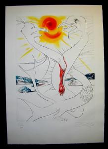 Salvador Dali - La Conquete du Cosmos I & II - The caduceus of Mars fed by thefireball of Jupiterlithograph