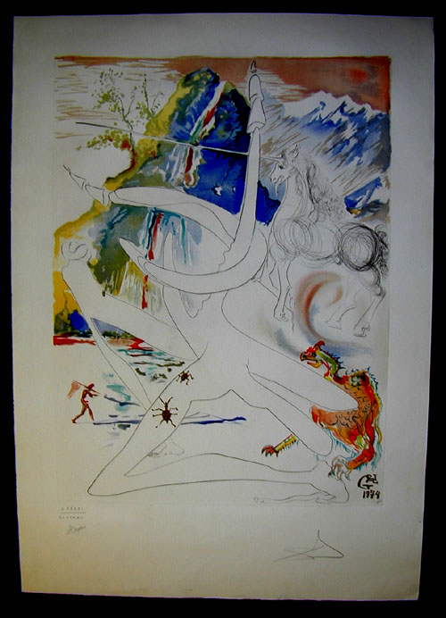 Salvador Dali - La Conquete du Cosmos I & II - The Unicorn laser disintegrates thehorns of the Cosmic rhinoceroulithograph