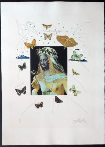 Salvador Dali - Memories of Surrealism Individual Photoliths - Surrealist Portrait of Dali Surrounded by Butterflies