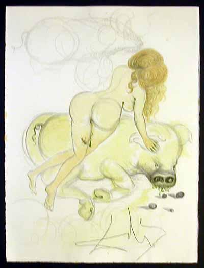 Salvador Dali - Dali Illustre Casanova - Girl and Pig