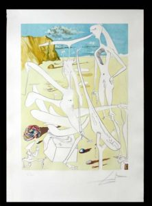 Salvador Dali - La Conquete du Cosmos I & II - Infraterrestrails adored byDali at the age of sixlithograph