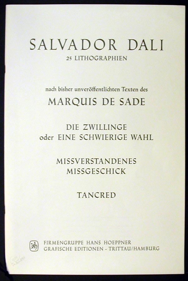 Salvador Dali - Marquis de Sade - Text and Justification