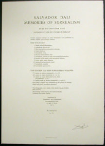 Salvador Dali - Memories of Surrealism Individual Photoliths - Justification Page