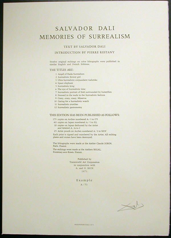 Salvador Dali - Memories of Surrealism - Justification Page