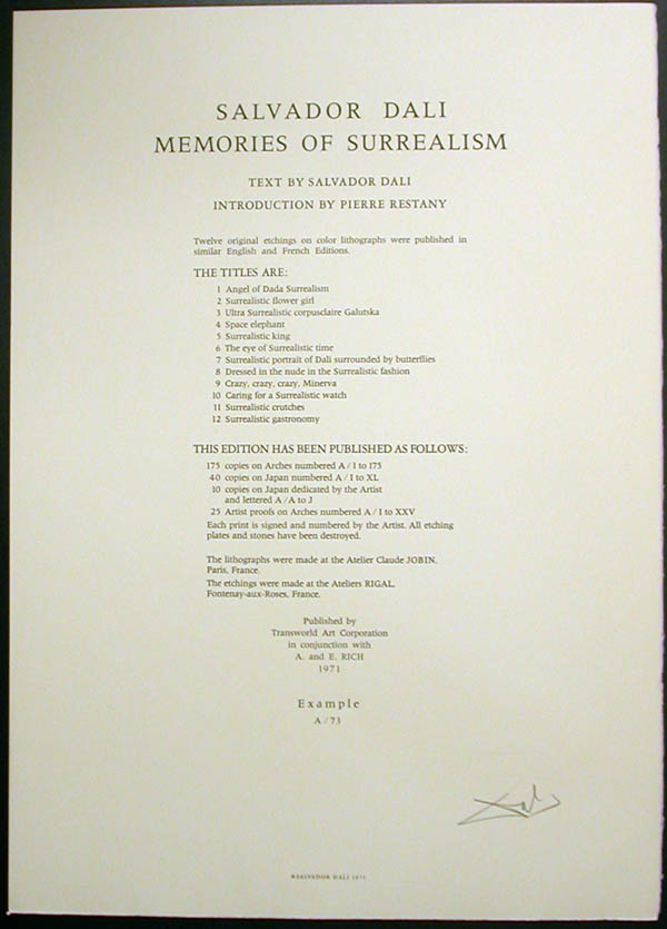 Salvador Dali - Memories of Surrealism Individual Photoliths - Justification Page