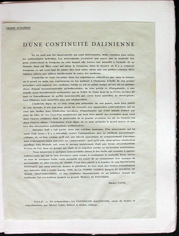 Salvador Dali - Manifests Mystique - text Page