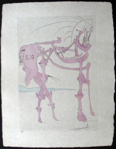 "Salvador Dali - Visions de Quevedo, ""Dalinian Fantasia"" - Cheval en rose"