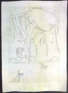 Salvador Dali - La Quete du Graal - Viviane and Lancelot on the Lake