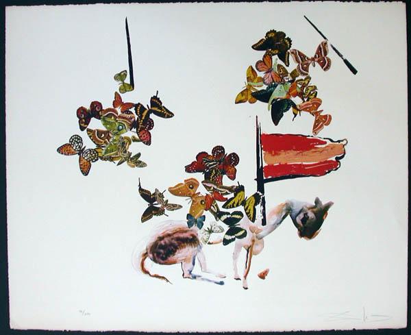 Salvador Dali - Anamorphoses - Chevalier aux Papillons (Horseman with Butterflies)