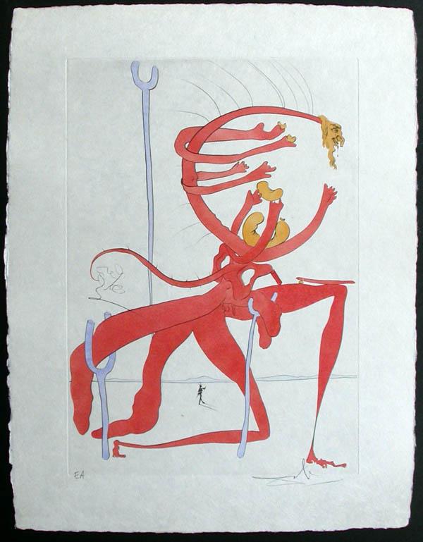 """Salvador Dali - Visions de Quevedo, """"Dalinian Fantasia"""" - Paysage avec squelette"""