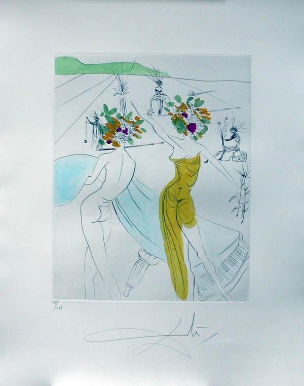 Salvador Dali - Hippies - Flower-Women at the Piano, Les Femmes-fleurs au piano