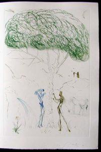 Salvador Dali - Tristan et Iseult - Under the parasol pine