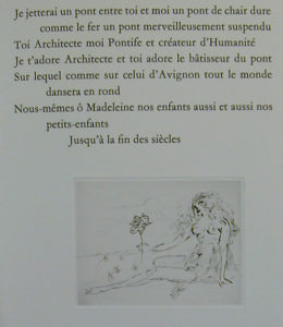 Salvador Dali - Secret Poems by Guillaume Apollinaire - From Nude with Parrot