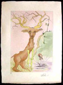 Salvador Dali - Le Bestiaire de La Fontaine - Le Cerf se Yoyant dans L'eau