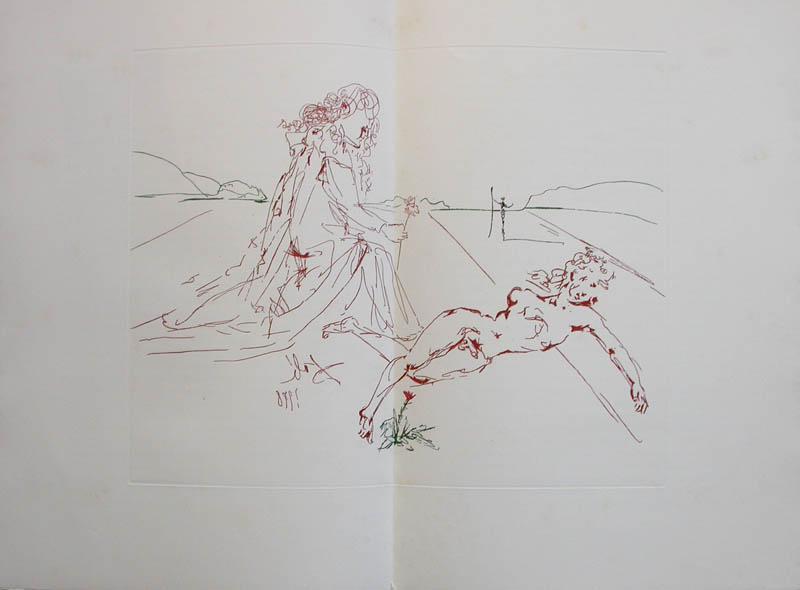 Salvador Dali - L'Art de Aimer - Ovide - Double page etching