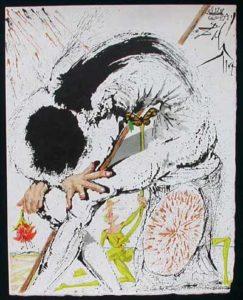 Salvador Dali - Pages choisies de Don Quichotte de la Mancha - Don Quichotte Overwhelmed