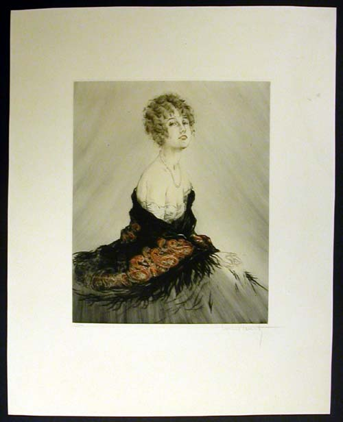 Louis Icart Feathered Shawl