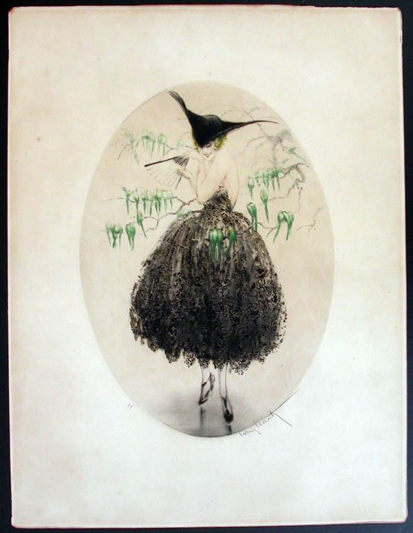 Louis Icart Green Parakeets