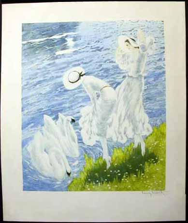 Louis Icart Swans
