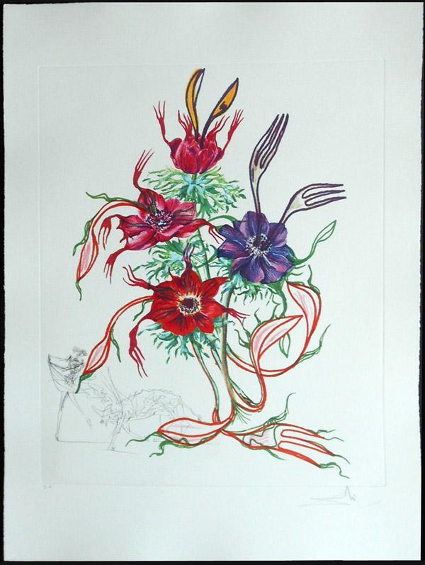 Salvador Dali - Surrealsitic Flowers, Florals - Anemone + forks, A