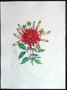 Salvador Dali - Surrealsitic Flowers, Florals - Dahlia Venus, H