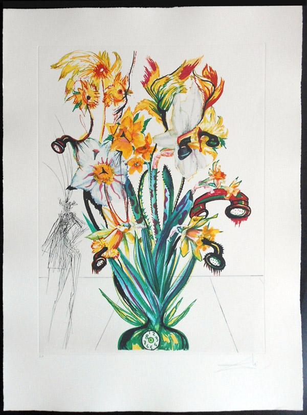 Salvador Dali - Surrealsitic Flowers, Florals - Narcussus + Phones, J