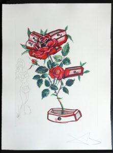 Salvador Dali - Surrealsitic Flowers, Florals - Rose + Drawers, L
