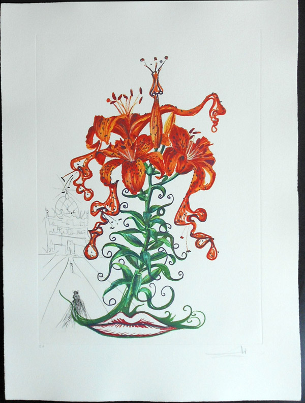 Salvador Dali - Surrealsitic Flowers, Florals - Tiger Lilies + Mustache, O